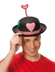 Chapeau melon de clown avec coeur adulte