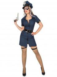 Déguisement uniforme police femme bleu foncé noir