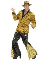 Déguisement années disco tigre noir et marron pour homme