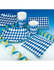 Lot de 20 serviettes décoratives pour fête bavaroise en bleu et blanc