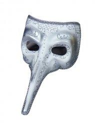 Masque vénitien long nez blanc et argent