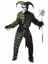 Déguisement d'Arlequin diabolique vert homme Halloween