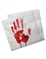 Serviettes en papier empreinte de main sanglante 33x33cm Halloween