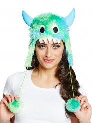 Chapeau fourrure monstre mignon en vert et bleu