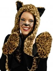 Bonnet avec gants léopard