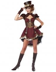 Déguisement steampunk femme bordeaux