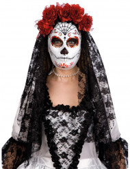 Masque dia de los muertos avec roses rouges adulte Halloween