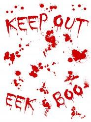 Autocollant sanglant murale Keep Out 25x70cm Halloween