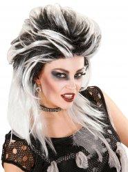 Perruque cheveux longs zombie punk noir-gris