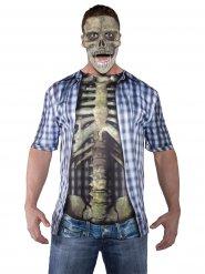 T-shirt d'Halloween squelette multicolore