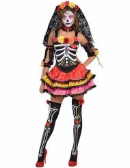 Déguisement squelette coloré Dia de los muertos femme