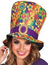 Chapeau haut de forme multicolore hippie adulte