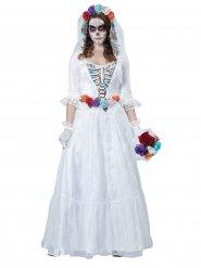 Costume d'Halloween squelette de mariée, blanc-multicolore