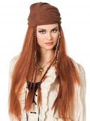 Perruque cheveux longs auburn pirate avec bandana femme