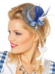 Mini-chapeau bavarois femme à plumes grises et bleues