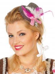Mini chapeau bavarois gris et rose femme