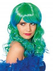Perruque cheveux longs de sirène vert et bleu femme