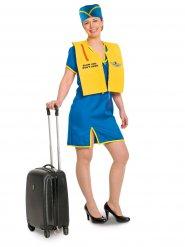Déguisement agent hôtesse de l'air femme bleu jaune