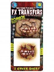Tatouage adhésif joue arrachée zombie Halloween 11,4 x 14 cm peau