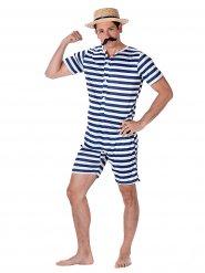 Maillot de bain rétro raillé bleu et blanc homme