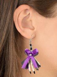 Boucles d'oreilles noeuds violets et mains de squelette Halloween