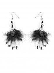 Boucles d'oreilles plumes rubans noirs et mains de sorciére Halloween