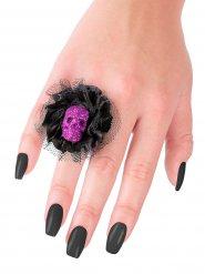 Bague noire et violette tête de mort Halloween