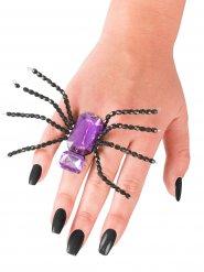 Bague araignée noire et violette Halloween