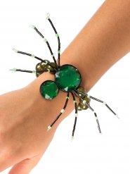 Bracelet gothique araignée pierres précieuses vertes Halloween