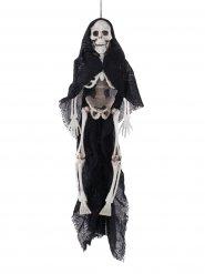 Suspension squelette cape noire Halloween 40 cm