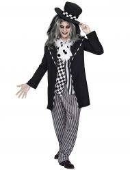 Chapelier fou conte de fée Halloween noir-blanc homme