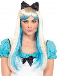 Perruque luxe princesse blonde et bleue avec noeud femme