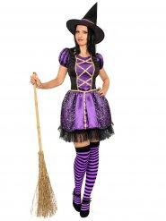 Déguisement sorcière noir et violet femme Halloween