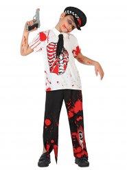 Déguisement policier zombie ensanglanté enfant Halloween