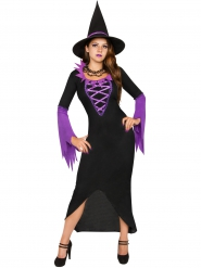 Costume de sorcière magicienne pourpre et noir