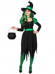 Déguisement sorcière verte et noire femme Halloween