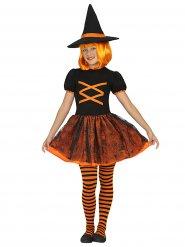 Déguisement sorcière orange et noir fille Halloween