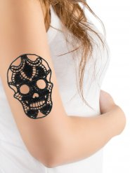 Tatouage en dentelle crâne noir Halloween