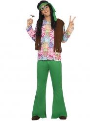 Déguisement hippie homme vert et fleurs