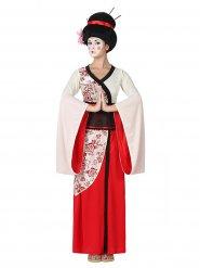 Déguisement geisha rouge et blanc femme