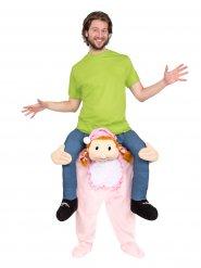 Déguisement homme à dos de bébé rose adulte