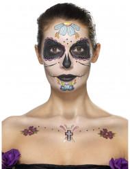 Kit maquillage fleurs bleues femme Dia de los muertos