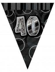 Guirlande fanions gris Age 40 ans 2,74 m