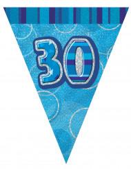 Guirlande fanions bleu Age 30 ans 2,74m