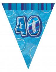 Guirlande fanions bleu Age 40 ans 2,74m