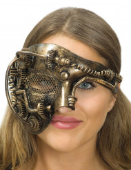 Demi masque doré multi rouages adulte Steampunk