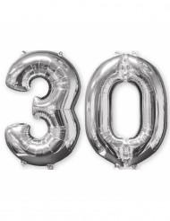 Lot de 2 ballons aluminium 66 cm chiffre argent 30