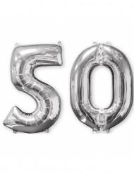 Lot de 2 ballons aluminium 66 cm chiffre argent 50