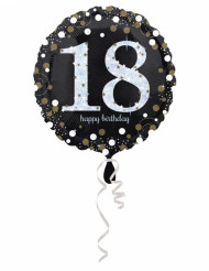 Ballon Aluminium Happy Birthday holographique 18 ans