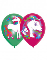 6 Ballons latex Licorne 2 couleurs